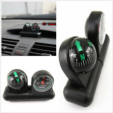 BLACK 2IN1 REMOVABLE CAR COMPASS AND THERMOMETER ADHESIVE SUV VAN TRUCK TRAILER