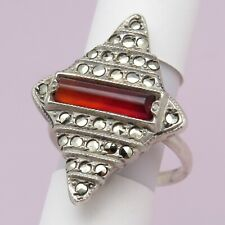 Vtg Art Deco Marquise Natural Carnelian Marcasite Sterling Silver S 6 Ring