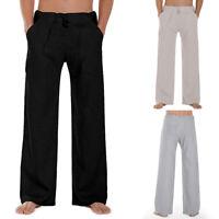 Mens Comfort Casual Baggy Formal Pants Beach Yoga Loose Trousers Bottoms Summer