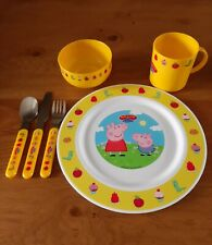 Peppa Pig Childrens' Toddler's Plastic Dinner Set Plate, Bowl, Cup & Cutlery New