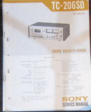 Sony TC-206SD registratore a cassette Servizio di Riparazione Officina Manuale (copia originale)