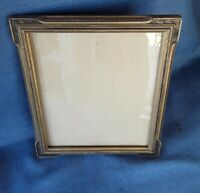 "Vtg Art Deco Wooden Gold Picture Frame  w/ Glass  ID 8"" x 10"" OD 11.5 x 9.5"