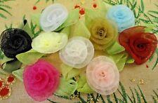 """100 pcs 1/2"""" Organza Ribbon Flowers Appliques Craft Mix 2217T-4"""