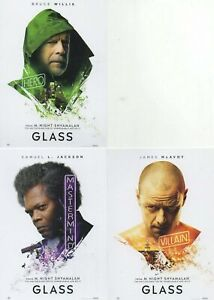 GLASS LOBBY CARDS/POSTCARDS - BRUCE WILLIS SAMUEL L JACKSON JAMES MCAVOY 3-SET