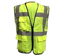 Hi Vis Viz Vest High Visibility Waistcoat With Phone & ID Pockets Yellow Work