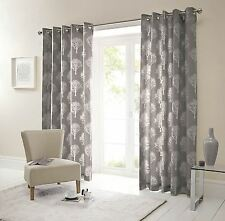 Forest Trees Charcoal White 90X90 Ring Top Lined Curtains #Seertdnaldoow Cur