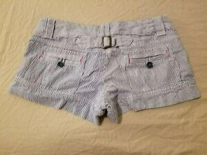 Womens American Eagle Outfitters Khaki Shorts 6 Blue Stripes Cotton