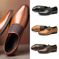 Men's Business Dress Formal Leather Shoes Flat Oxfords Pull On Pointy Toe Loafer