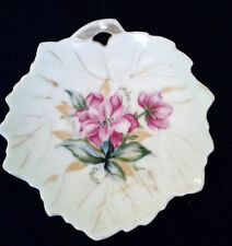 Vintage Small Leaf Trinket Dish Pink Flowers Marked Japan