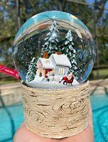 Christmas Tree Winter Cabin Snow Globe Water Dome Musical Santa House Home Decor