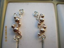 Pair Rose Gold Ear Vines Climbers Ear Pins With Twisted Silver Wire.... 005