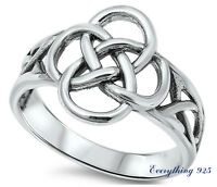 Sterling Silver 925 PRETTY CELTIC KNOT DESIGN SILVER BAND RING 10MM SIZES 4-13