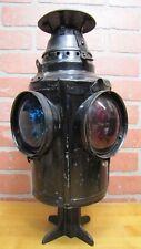 Old DRESSEL Train Railroad Lantern Lamp 4 Lense Cast Iron Metal Arlington NJ USA