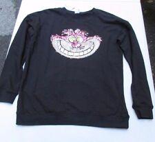 Medium Disney Sequin Cheshire Cat Long Sleeve Black Tee Shirt Top