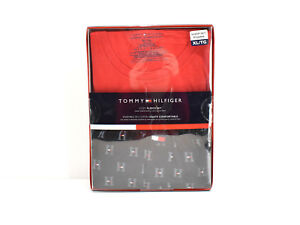 Tommy Hilfiger Men's 2 Piece Cozy Fleece Set Pajamas Black Pants Red Tee XL New!