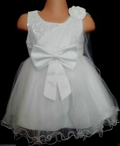 White Christening Flower Girl Pageant Prom Bridesmaid Party Dress Xmas 0-24m