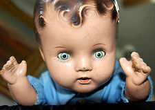 "17"" Tin sleepy/Flirty eyed Composition Cloth body Boy doll Tlc/Parts M&S"