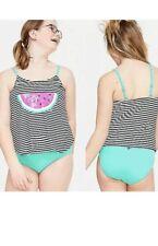 Justice Girls Flip Sequins Watermelon Stripe Tankini Swimsuit, Size 20 plus