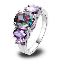 Oval Rainbow Topaz Amethyst Gemstones AAA Silver Ring Size 6 7 8 9 10 11 12 13