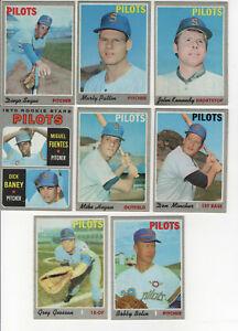 1970 TOPPS SEATTLE PILOTS:  8 CARDS -  MINCHER, PATTIN, GOOSEN, BANEY, HEGAN, ++