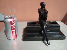 Frankart Inc. Black Art Deco Woman Inkstand