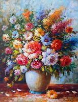 """perfect 24x36 oil painting handpainted on canvas""""beautiful flowers""""NO1575"""