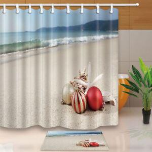 Christmas ball and starfish on beach Waterproof Shower Curtain 12 Plastic Hooks