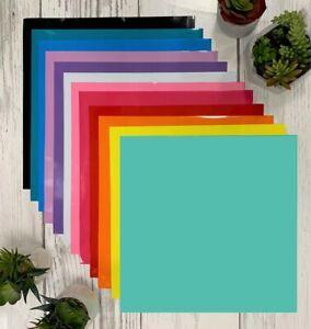 "10 assorted colors  12"" x 12"" Hobby vinyl rolls oracal 651 monograms permanent"