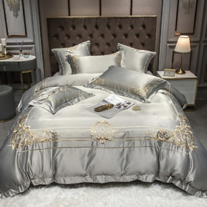 Luxury Golden Royal Noble Wedding 600TC Cotton+Silk Embroidery Bedding Set