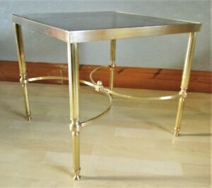 Mid Century French Hollywood Regency Solid Brass Glass Top Side Table