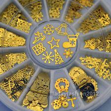 3D Christmas Nail Art Decorations Metal Slice Golden Sticker Decals Foil Wheel