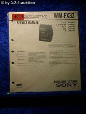 Sony Service Manual WM FX33 Cassette Player (#4044)