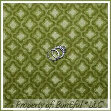 BonEful Fabric FQ Cotton Quilt VTG Green Olive Xmas Tone Cabin Calico Small Girl