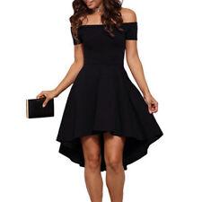 UK Womens Short Sleeve Off Shoulder A LINE Party Ladies Cocktail Evening Dress