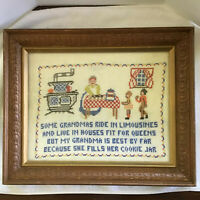 Vintage Grandma Needlepoint Framed Sampler Cross Stitch Folk Art Country Decor