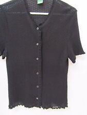 Geiger Austria Black Sweater Short Sleeve Sz 42 Viscose Tactel Ruffle Textured