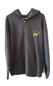 Nascar Jeff Gordon Gray Hooded Front Zip Sweatshirt Mens XL Fleece Lined