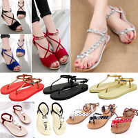 Womens Ladies Boho Flat Shoes Summer Beach Sandles Strappy Flip Flops Slippers
