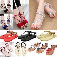Womens Celeb Boho Flat Diamante Lace Up Rubber Sandles Strappy Shoes UK Size 2-7