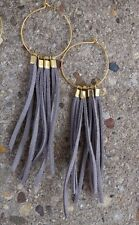 "4"" L Light Gray Suede Leather Brass Bead Gold Plated Hoop Boho Earrings Fringe"