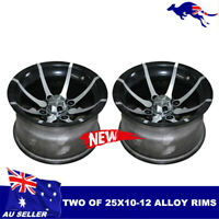 "2X 25X10- 12"" inch Rear Back ALLOY Wheel Rim 4 Quad Dirt Bike ATV Buggy OffRoad"