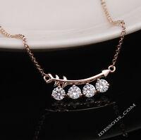 Vergoldet Anhänger Halskette feine Goldkette Collier Geschenk Liebe Diamanten