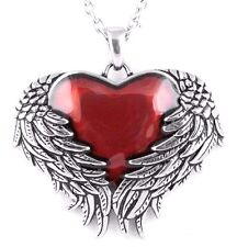 Controse Guarded Love Winged Red Heart Blackened Steel Pendant Necklace CN092