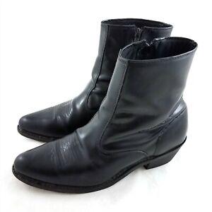 Laredo Black Leather Western Ankle Boots Side Zipper Mens 10.5 EW
