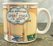 """Russ Berrie """"Expecting A Great Idea"""" Bathroom Stall Toilet Funny Coffee Mug Cup"""