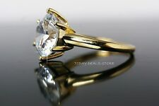 Women's engagement ring 4.00 CT round cut solid yellow gold 14k bridal proposal
