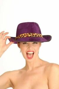 Velvet Pimp Gangster Mob Leopard Animal Print Fedora Hat Costume Accessory