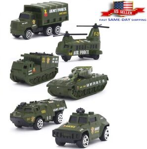 6Pcs Military Army Car Air Force Tank Helicopter Gun Truck Diecast Toy Kids 1:64