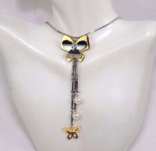 Butterfly Necklace Gold Silver Tone Pearls Drop Dangle Fashion Jewelry