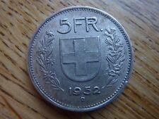 Rare 1952 Suisse 5 franc/FRANKEN Silver plus faible tirage coin